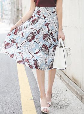 Pen Art Rib Pattern Linen Flare Skirt