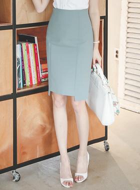 Square cut incision Slim Skirt