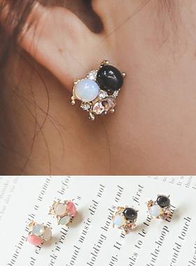 onyx & opal handicraft earring
