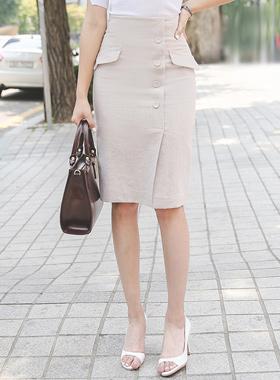 Flap button Linen high waist Skirt