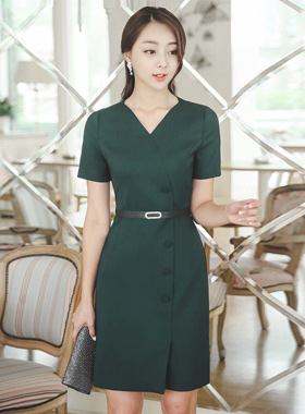 Cubic Belt Button Heart Neck Dress