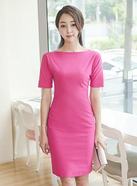 Push Above Neck Linen Span Dress