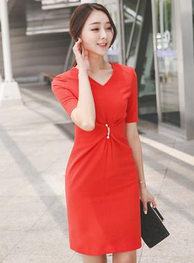 Folded Shirring Pearl Brooch Dress