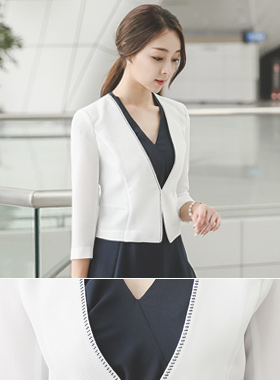 Embroidery stitch incision line short jacket