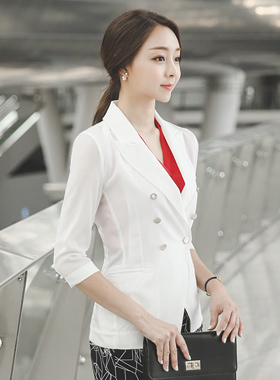 Metal button Slim Double See-through look Jacket
