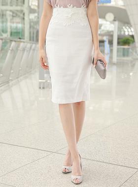 Embroidery lace waist linen span Skirt