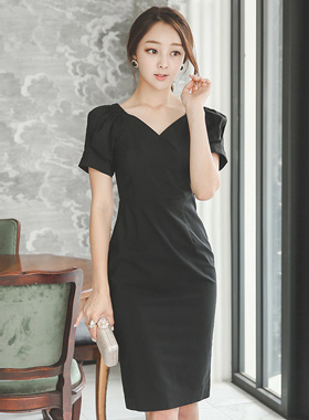 Heart Neck Bending Shoulder Linen Cotton Dress