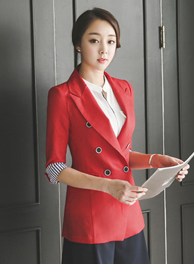 Color color combination Linen Jacket