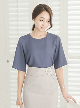 Simple bell sleeve Round Blouse