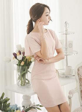 Pearl slit sleeve shearing Dress