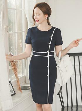 Pearl Button Bias Linen Touch Dress