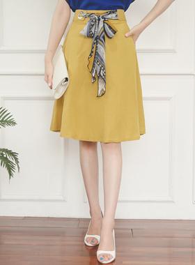 Scarf Ring Belt Flare Skirt
