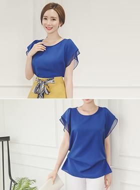 Chiffon double sleeve shearing long blouse