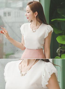 Pearl Chiffon Puff blouse top