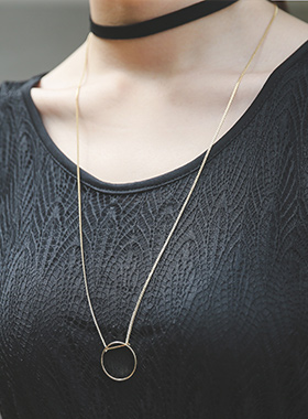 Gold Ring Long Chain Choker Necklace