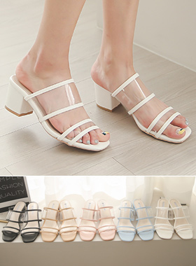 Transparent Strap Mule Slippers