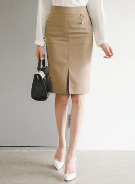 Pearl ring pocket line slit Skirt