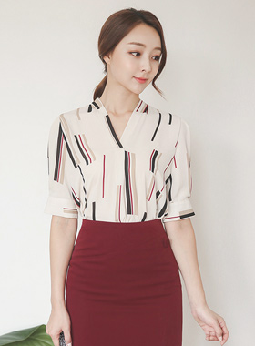 Stick Pattern V-neck Sleeve Blouse 5