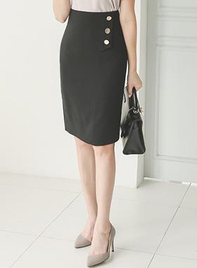 Flap Gold Button Formal Hline Skirt