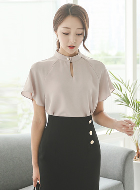 Gold Pearl Choker Neck Silky Blouse