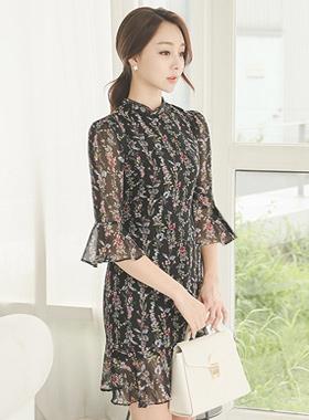Fairy Floral Wrinkle Chiffon Ruffle Dress