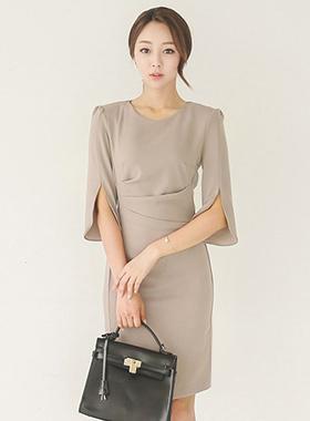 Elegance Drape Shirring Dress