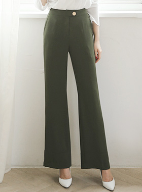 Luxury Gold Button Wide Pants