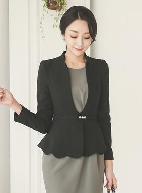 Feminine Pearl Belt Scallop Jacket