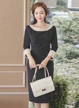 Minimal color combination Slim Midi Dress