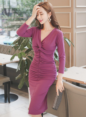 Glam twist Shirring Dress
