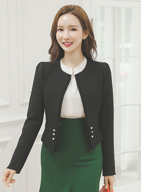Piping satin-colored pearl button short jacket