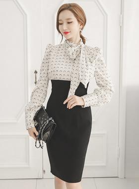 Elegance Scarf Two Piece Dress