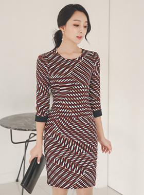 Oblique Stick Pattern color combination Dress