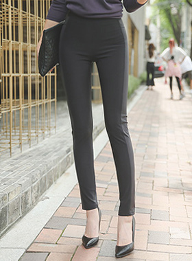 Cutting Line Coated Span Leggings Pants