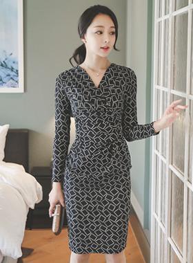 Square Drape Shirring Dress