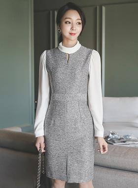 layered roll neck Slit Dress