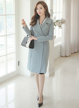 feminine wide collar double long jacket