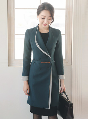 Double color color combination Slim long jacket (fall)