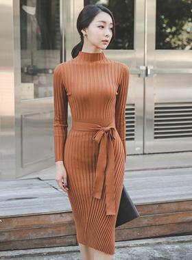Unblocked Corrugated Ban Pole Knit Dress