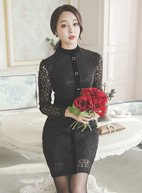 Rich velvet line button Race Dress