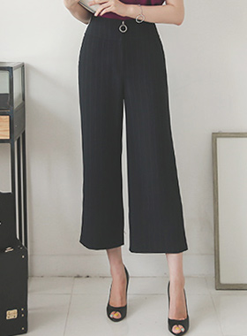Stripe Ring Zipper Wide Pants
