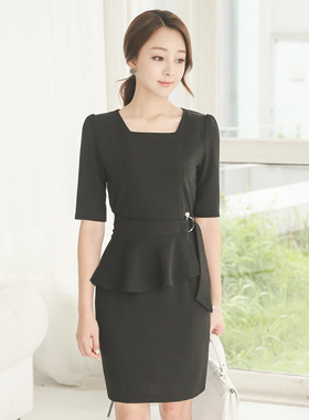 Peplum Belt SET Square Neck Dress