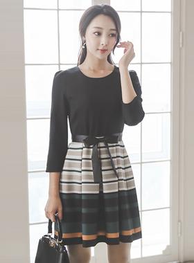 Antique color combination Belt Flare Dress