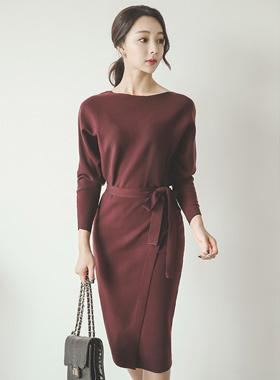 Stingray Midi Knit Wrap Dress