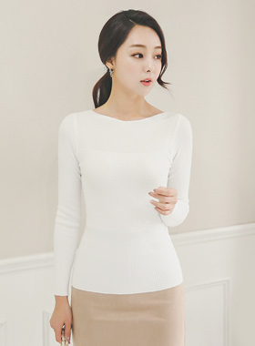 Cache Touch Slim Boat Neck Knit