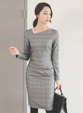 Glen Check Square Neck Drape Dress