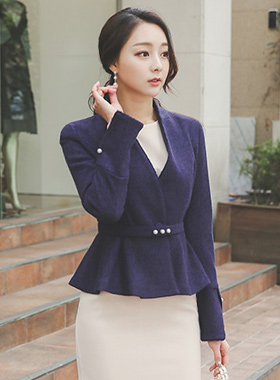 Slit sleeve pearl belt wool wool Jacket