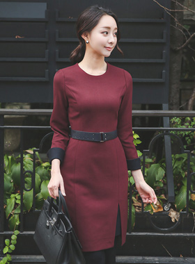 Stud belt Wool color combination Dress