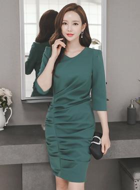 Volume drape Shirring Dress
