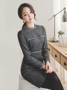 Trimming Tweed Dress